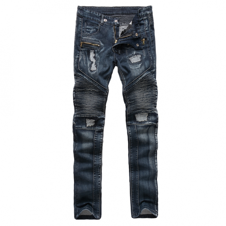 Cool Distressed Blue Biker Jeans Standard Fit