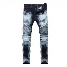 Contrast Biker Jeans Blue