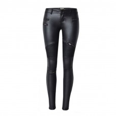 Womens Biker Pants Leather Black
