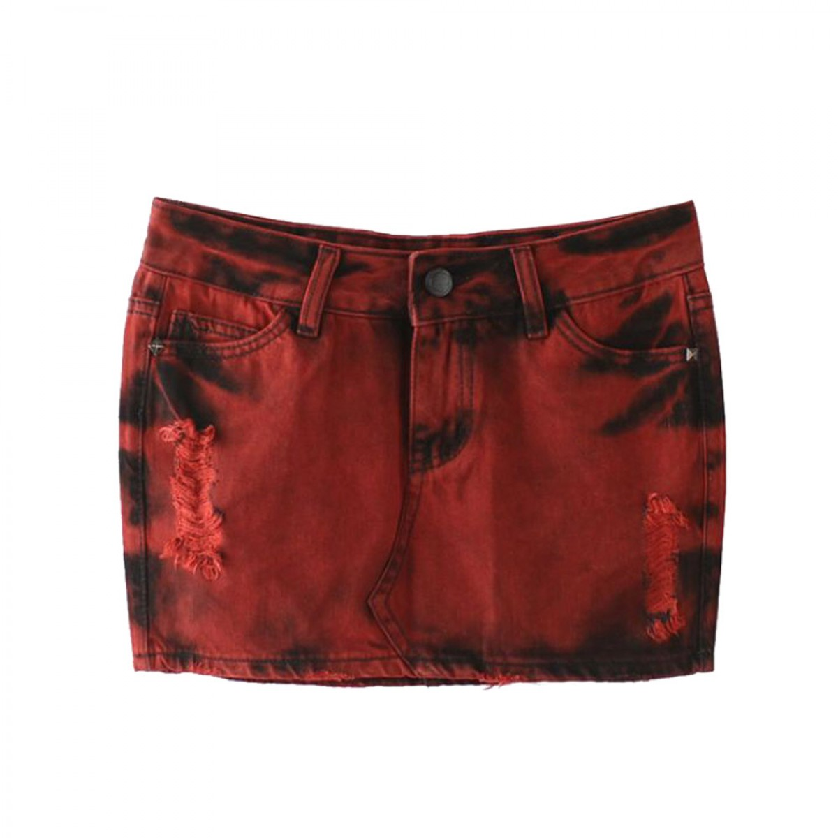 Punk Skirt Red Denim Skirt Studs Sizes S-L| LATICCI