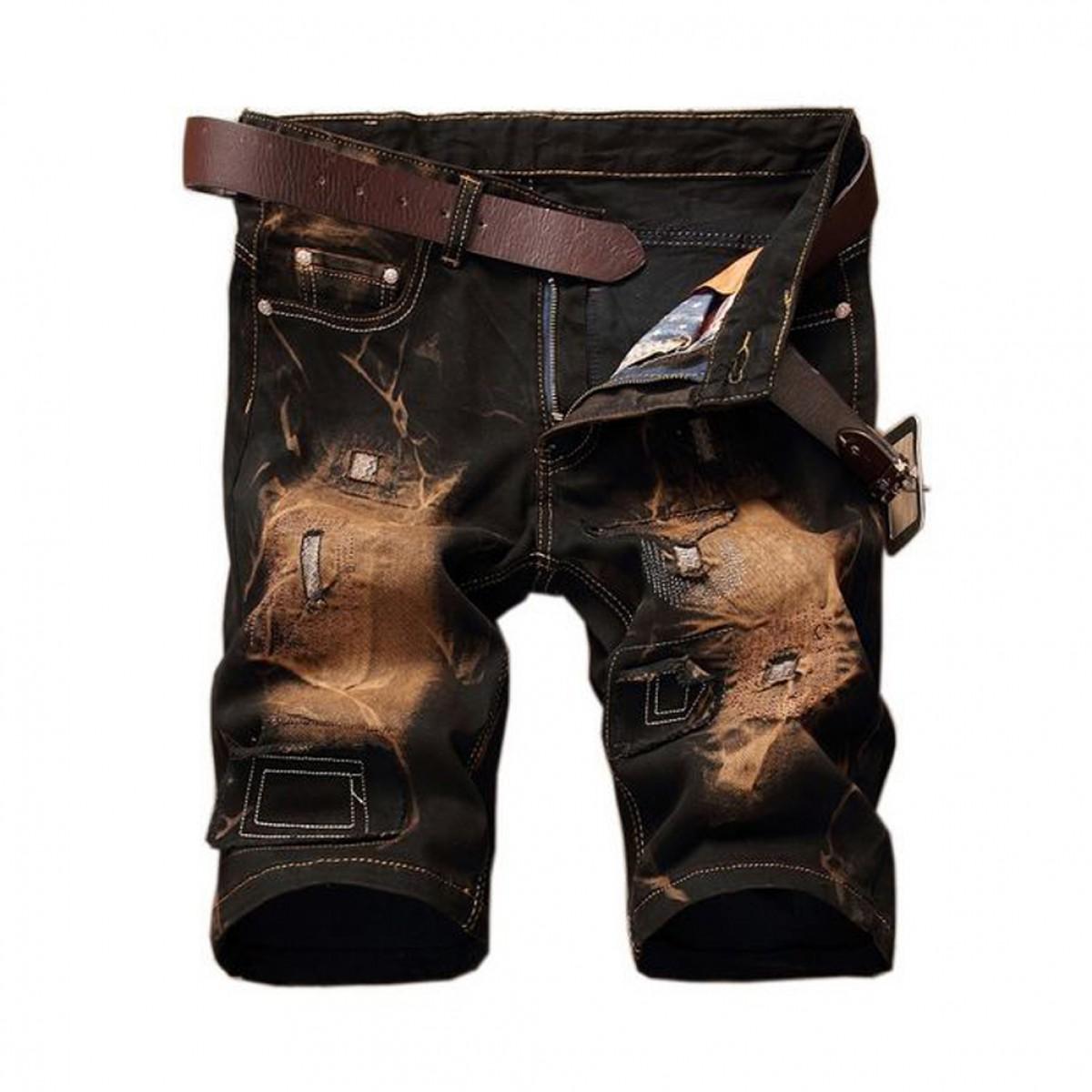Mens Ripped Denim Shorts   LATICCI