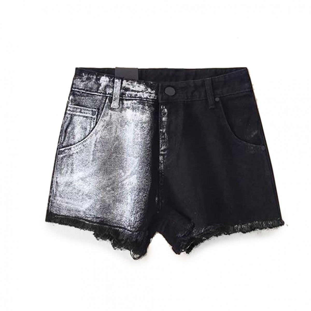 Womens Distressed Black Denim Shorts | LATICCI