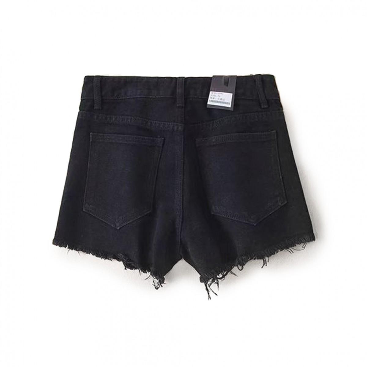 Womens Distressed Black Denim Shorts | LATICCI