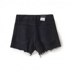 Womens Distressed Black Denim Shorts