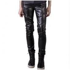 Leather Pants Zipper Thighs Skinny Fit