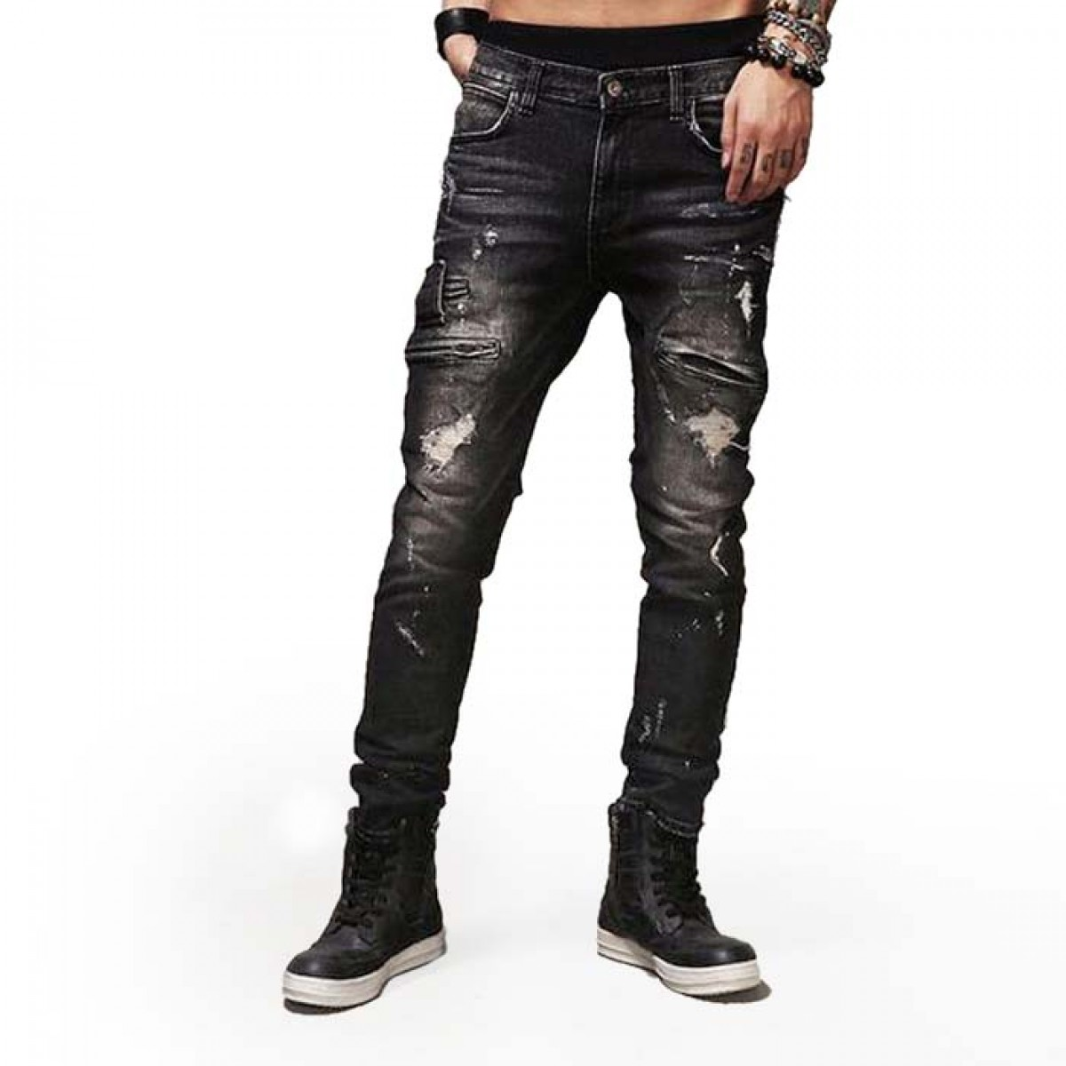 mens ripped jeans black sizes 3038 laticci