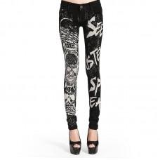 Womens Skull Print Skinny Jeans Goth Black