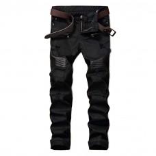 Black Biker Jeans Leather Detail