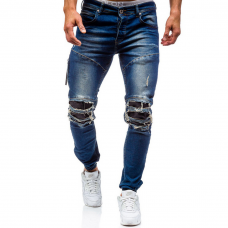 Mens Skinny Ripped Jeans Leather Knees