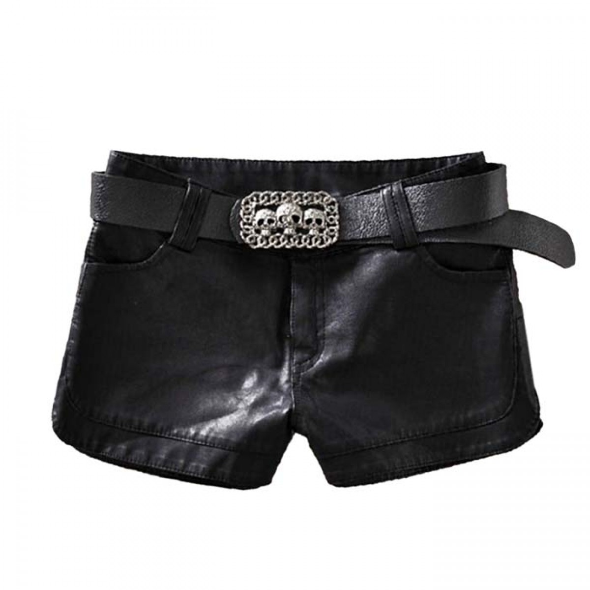 Black Leather Shorts With Skull Belt LATICCI