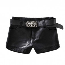 Black Leather Shorts with Skull Belt