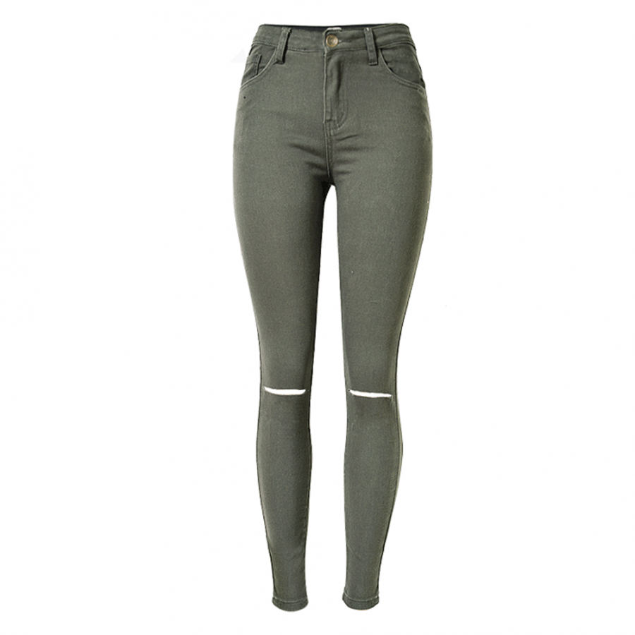 Army Green Jeggings Ripped Knees