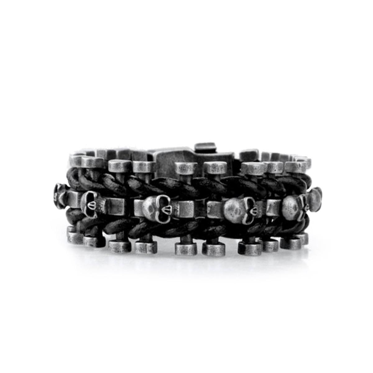 Skull Bracelet Steel and Leather Mens | LATICCI
