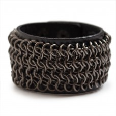 Mens Chainmail Cuff Leather Bracelet