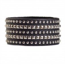 Studded Cuff Bracelet Leather Black