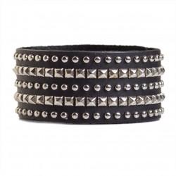 Studded Cuff Bracelet Leather Black