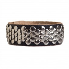 Womens Studded Cuff Leather Bracelet Black