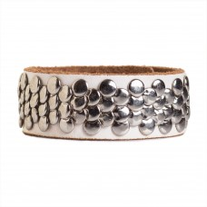 Womens Studded Cuff Leather Bracelet White