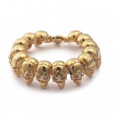 Mens Stainless Steel Bracelet with Skulls