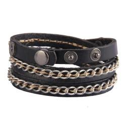 Chain Leather Bracelet
