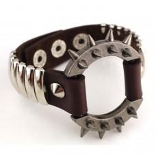 Mens Steampunk Leather Bracelet