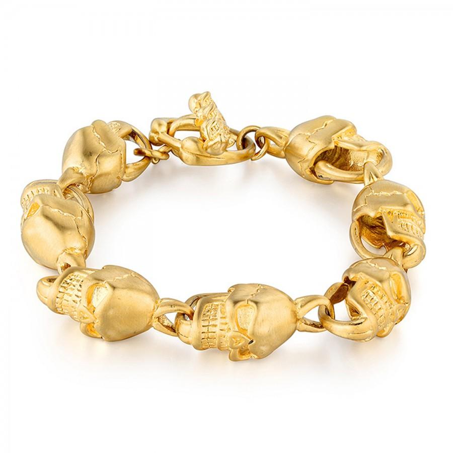 Mens Gold Skull Bracelet