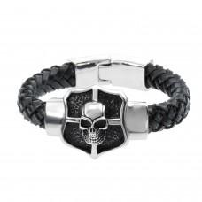 Mens Leather Bracelet with Skull