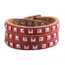 Studded Leather Bracelet Red
