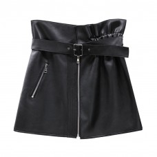Black Leather Skirt with Belt