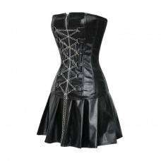 Black Corset Dress Faux Leather Zipper Chains