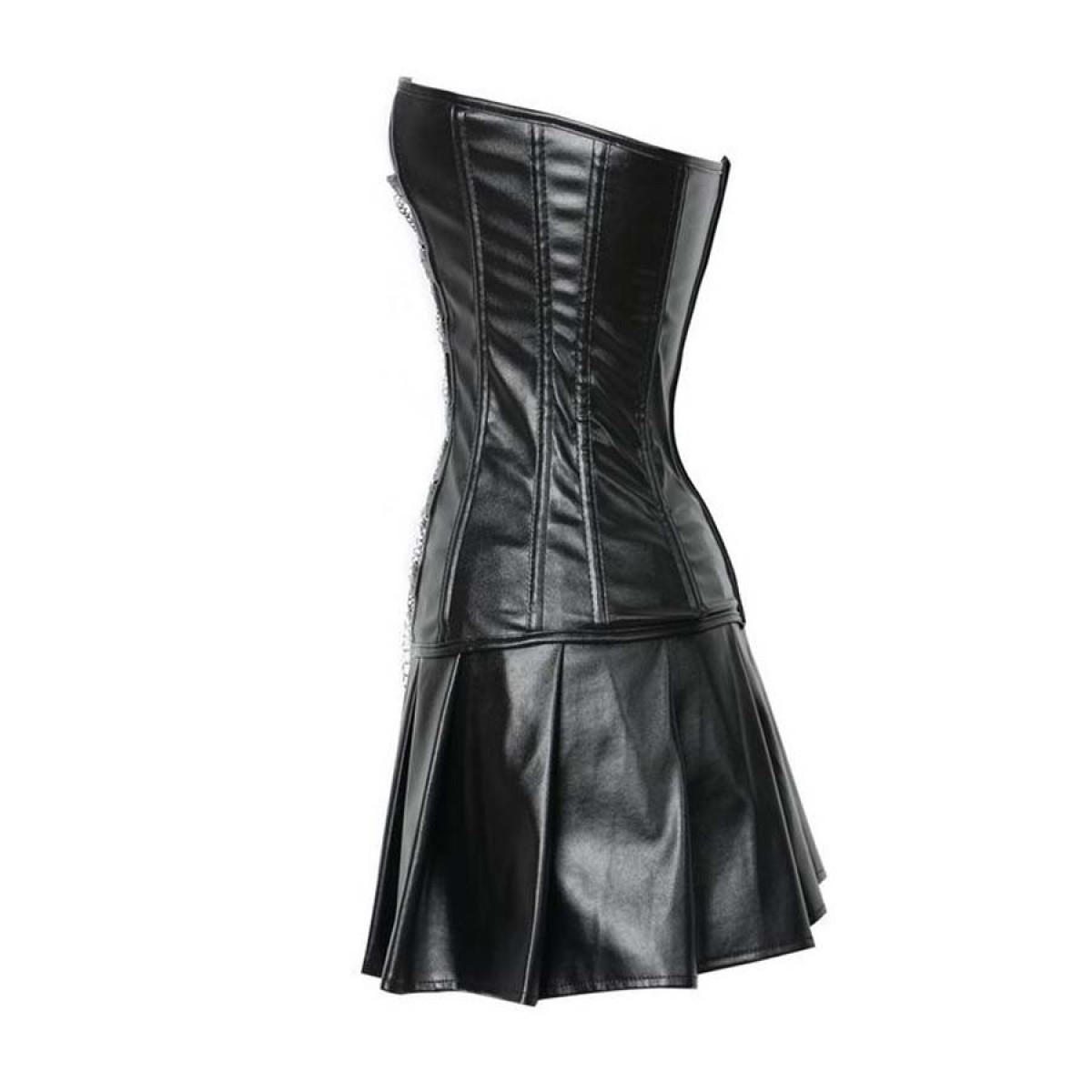 Black Corset Dress Faux Leather Zipper Chains S-2XL | LATICCI