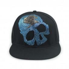 Skull Cap Blue Rhinestones