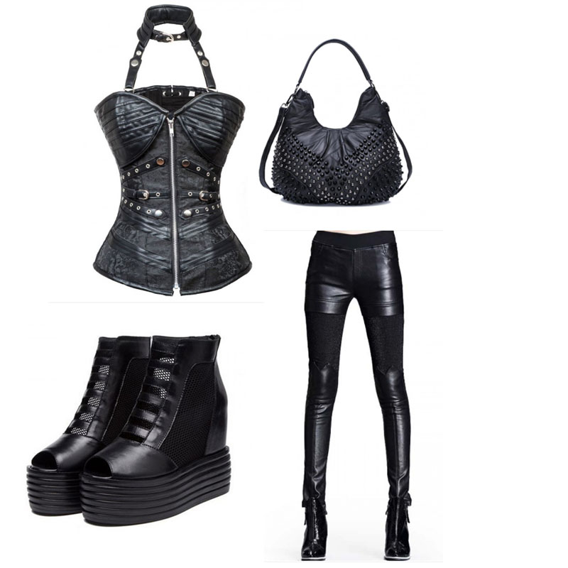 card corset outfit studs
