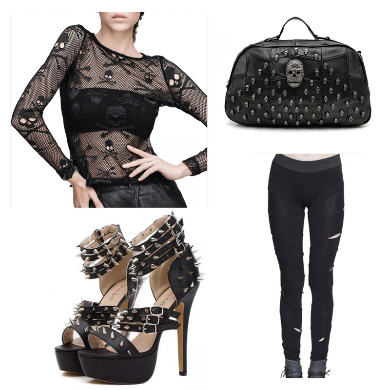 skulls and spikes womens goth outfit