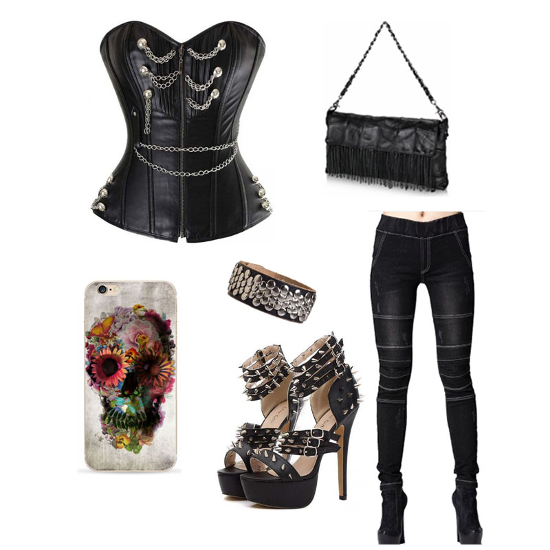 Steampunk Corset Outfit with Jeggings