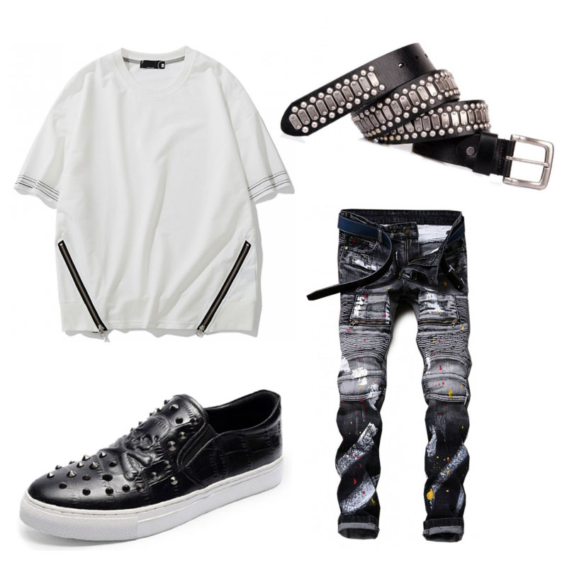 Summer Outfit Painted Jeans and Creative Top