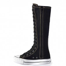 Spiked High Top Sneakers Knee Tall Black