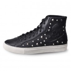 Skull Sneaker with Studs Hightop Black