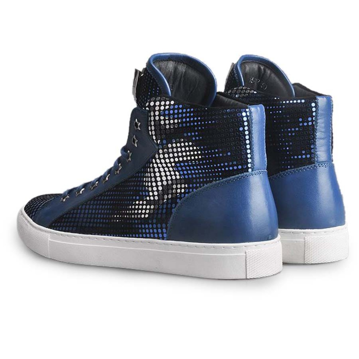 High Top Sneaker Sequins Grunge Shoe Leather Blue LATICCI