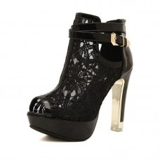 Lace Open Toe Booties