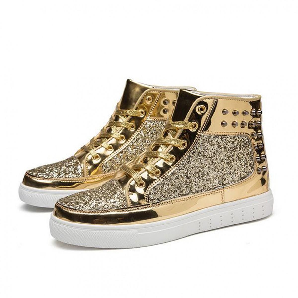 Gold Glitter High Tops Sizes 6.5-10.5  05ee4e26c