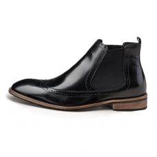 Black Leather Chelsea Boot Leather Sole