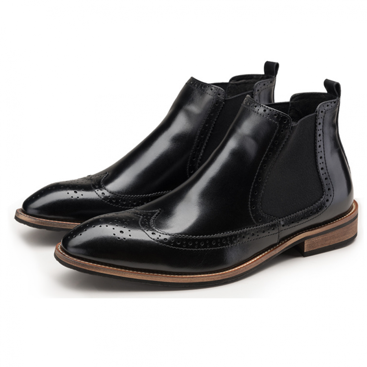 black leather chelsea boot leather sole sizes 6 5 10 laticci