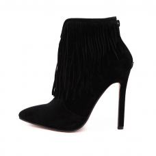 Black Suede Stilleto Booties with Fringes