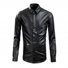 Mens Leather Dress Shirt