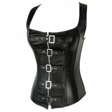 Black Corset Top Faux Leather Belts