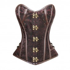 Brown Steampunk Brocade Corset