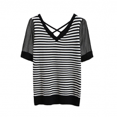 Black and White Striped Short Sleeve Top