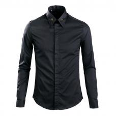 Black Cotton Dress Shirt Collar Detail