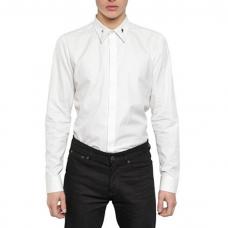 White Cotton Dress Shirt Collar Detail